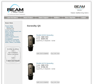 Screen shot of beamstl.com e-commerce beam vacuum store