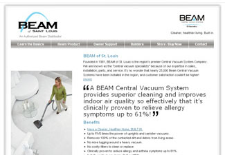 Screen shot of the beamstl.com homepage