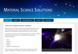 Screen shot of the materialsciencesolutions.com homepage