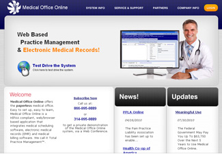 Screen shot of the medicalofficeonline.com homepage