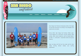 Screen shot of the sandiegosurfingschool.com homepage